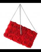 H&M kopertówka czerwona w róże blog hit