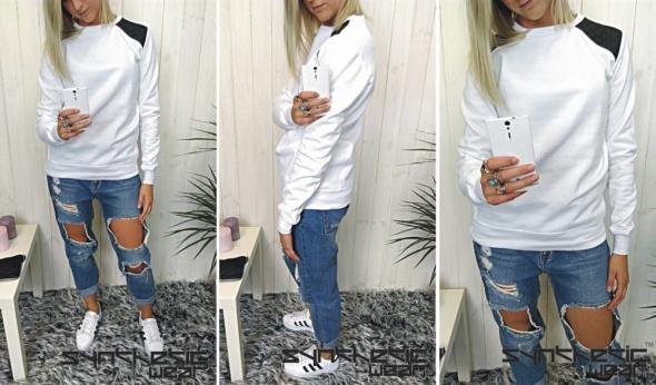 biała bluza czarne skórkowe pagony spodnie dziury