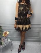 Śliczna włoska koronkowa sukienka Beckham M