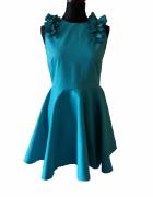 sukienka turkusowa rzokloszowana