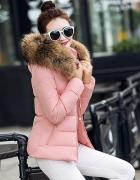 Różowa zimowa kurtka futerko S