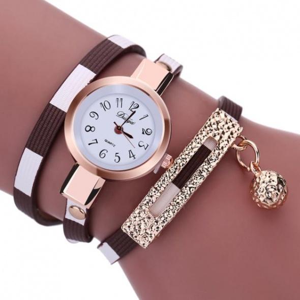 Brązowy Zegarek Damski Wąż