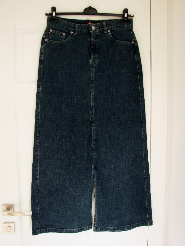 Spódnice Prosta jeansowa spódnica maxi z rozcięciami L