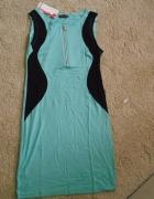 Sukienka wyszczuplająca miętowa...