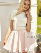 Loola sukienka biało pudrowa rozmiar XS...