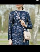 Sukienka koronka granatowa Zara Midi...