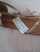 beżowe sandały wiązane na kostce 38 nowe metki