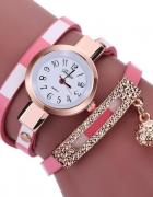 Różowy Zegarek Damski Wąż