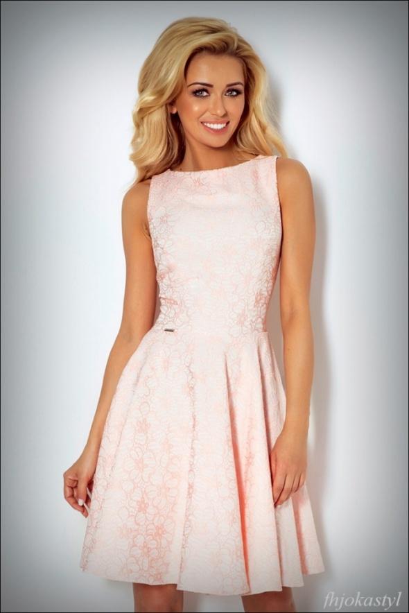 a504db1159 ŻAKARDOWA rozkloszowana różowa sukienka XS 34 w Suknie i sukienki ...