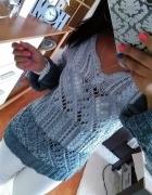 Next sweterek szaro biały pleciony S M
