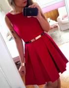 Czerwona rozkloszowana sukienka siateczka S