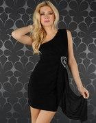 czarna sukienka zdobienia rozm M NOWA