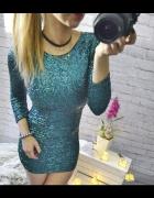 piekna zielono niebieska cekinowa sukienka xs