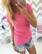 Zjawiskowa bawełniana bluzka S M różowa...