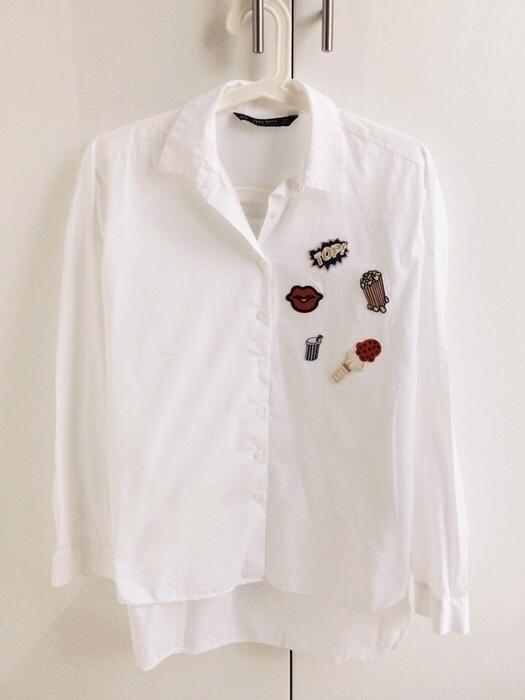 Biała koszula z naszywkami Zara XS w Koszule Szafa.pl