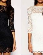 Sukienka Koronkowa H&M Czarna Biała M L