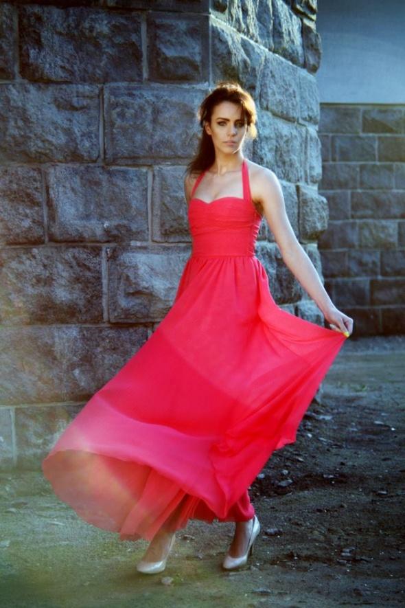 Romantyczne Zwiewna fuksjowa sukieneczka