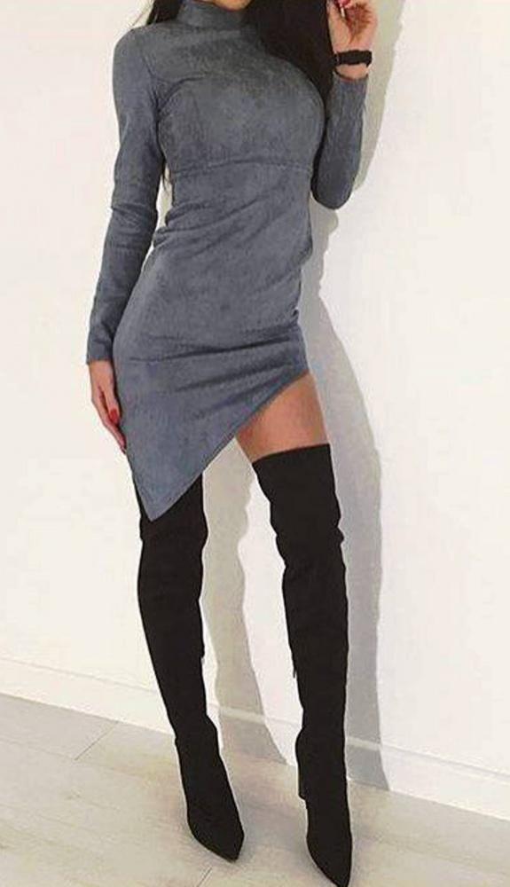 asymetryczna sukienka zabudowany dekolt