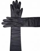 długie czarne skórzane rękawiczki...