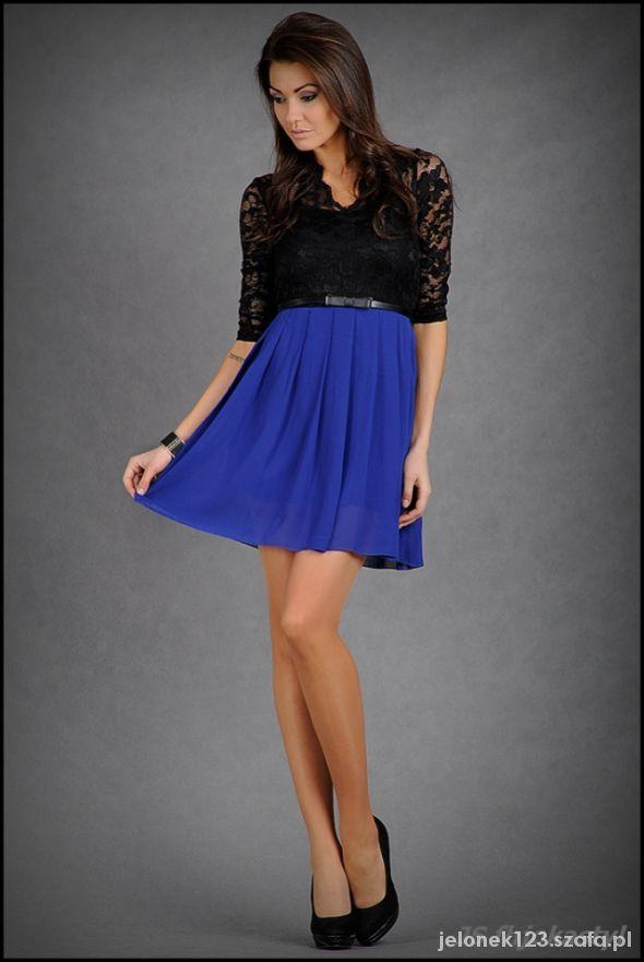 9491e9fe6d Suknie i sukienki Sukienka koronka rękaw 34 pasek czarna niebieska M