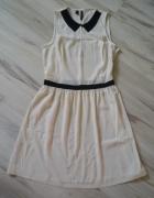 Sukienka Mango kolor ecru z czarnym 36 nowa