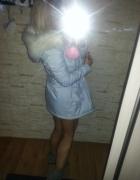 Loola piękna kurtka baby blue parka grube futro s