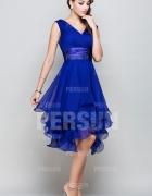 Femme robe de cocktail bleu royal col en v en mous
