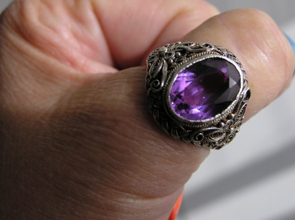 Srebrny FILIGRAN z Ametystem pierścionek kopuła
