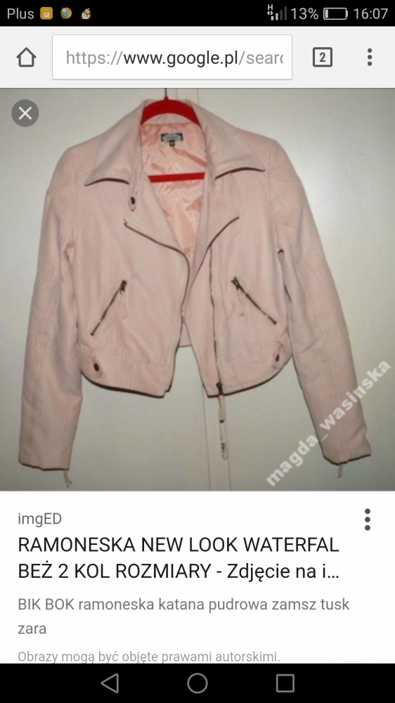 Bluza narzutka ramoneska pudrowy róż 34...