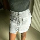 spódniczka zamszowa wiązana modna sznurowana kieszenie xs s m l