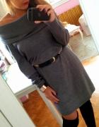 Szara sukienka H&M sweter kołnierz ramiona L