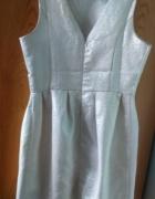 Sukienka ecru ze srebrną powłoką