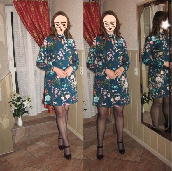Codzienne Szmaragdowa sukienka floral