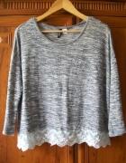 H&M Divided sweterek melanż z koronką