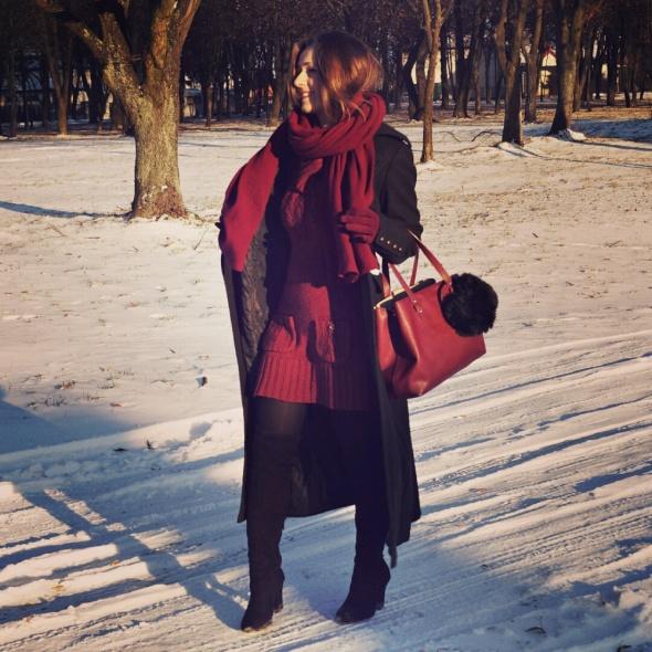 Blogerek dzianinowa sukienka zima