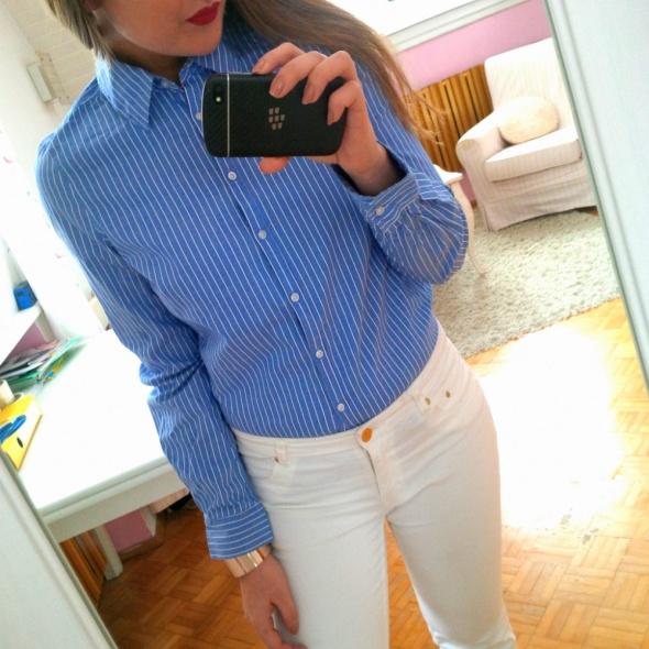 Koszule Niebieska klasyczna koszula w paski classic S