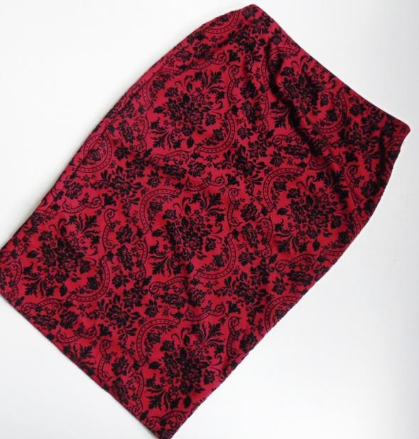 Spódnice Atmosphere czerwona aksamitna spódnica wzorek
