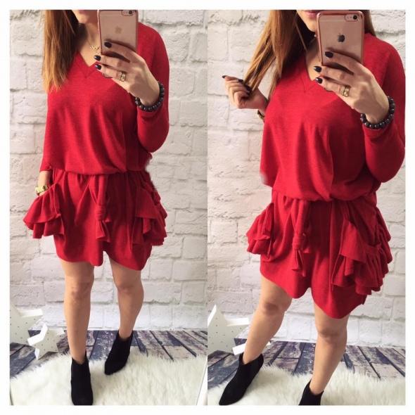 Codzienne sweter sukienka falbany duże kieszenie czerwony