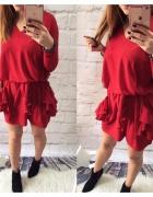 sweter sukienka falbany duże kieszenie czerwony