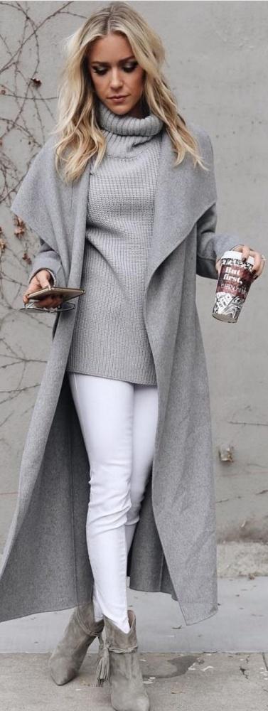 Blogerek Zimowa stylizacja szary płaszcz