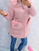 Kurtka zimowa pikowana futro kokardki