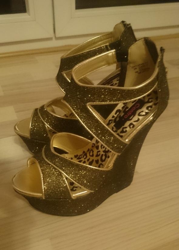 Koturny Brokatowe buty na koturnie 38 sylwestrowe prezent