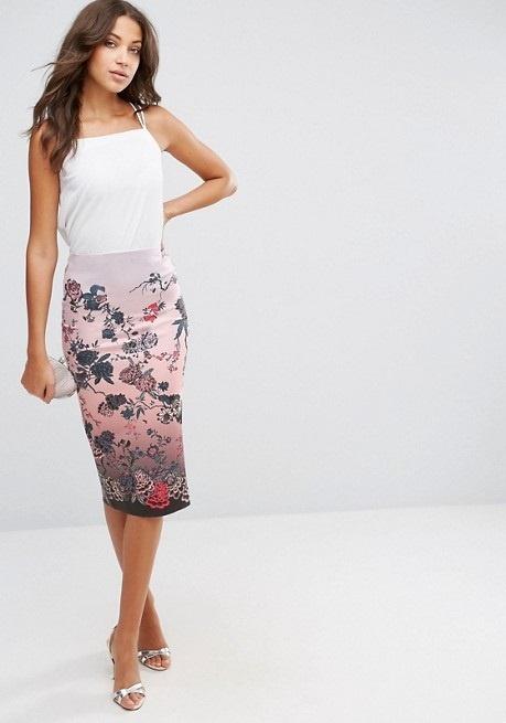 Spódnice Asos spódnica midi ołówkowa wzór japońkie kwiaty