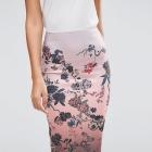 Asos spódnica midi ołówkowa wzór japońkie kwiaty