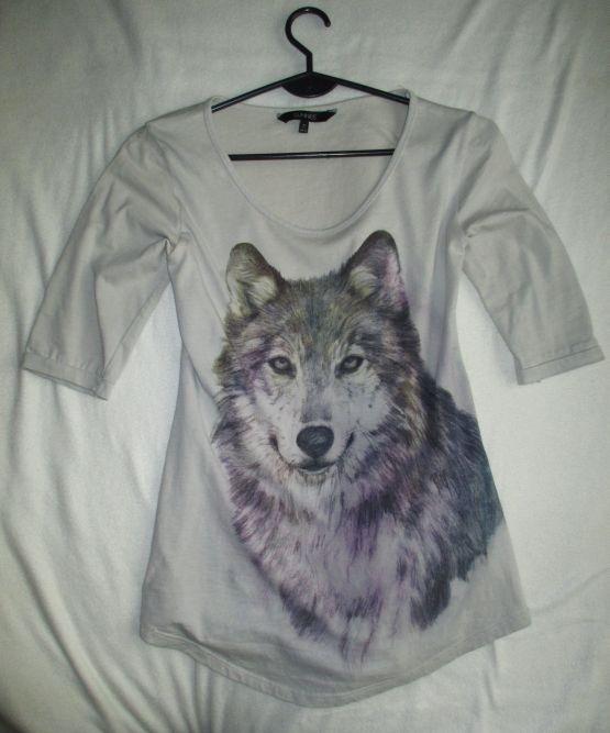 Bluzki szara bluzka z wilkiem 36 38