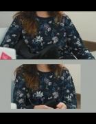 Sweterek v bluza H&M Ciemnoniebieski w Kwiaty