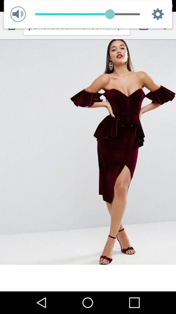 Ubrania Asos sukienka welur lub aksamit bordo