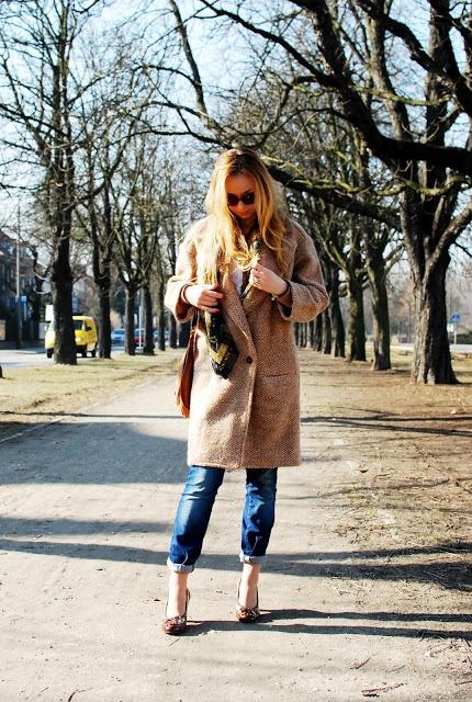 Codzienne Beżowy płaszcz