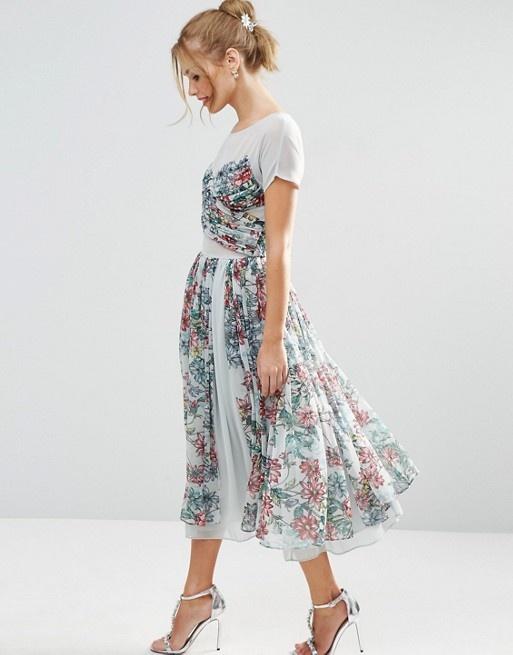 98bb606fa9 Suknie i sukienki Asos midi sukienka zwiewna rozkloszowana pastelowa