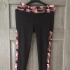 Czarno łososiowe sportowe legginsy L